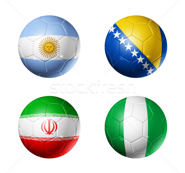 Stock photo: Brazil world cup 2014 group F flags on soccer balls
