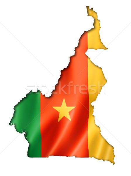 Камерун флаг карта оказывать изолированный Сток-фото © daboost
