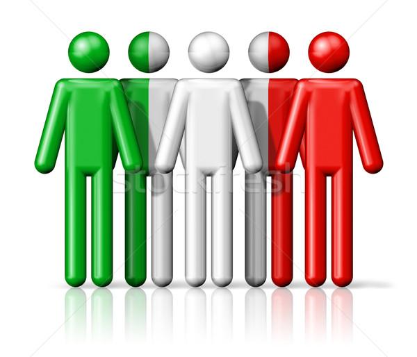 Zászló Olaszország pálcikaember társasági közösség szimbólum Stock fotó © daboost