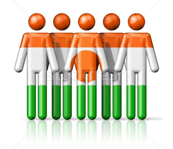 флаг Нигер stick figure социальной сообщество символ Сток-фото © daboost
