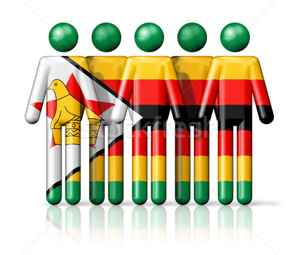 Flag of Zimbabwe on stick figure Stock photo © daboost