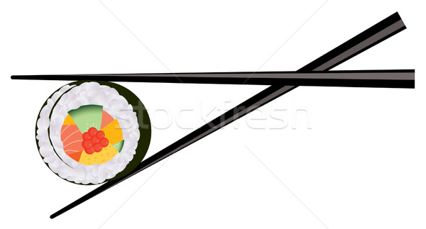 vector sushi and chopsticks Stock photo © Dahlia