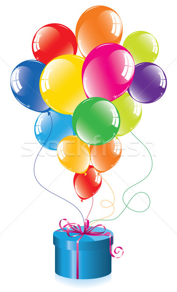 Stock photo: colorful balloons and a gift box