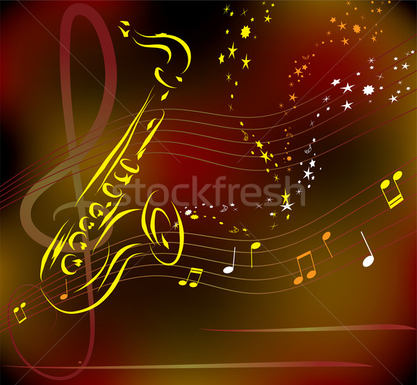 stylized saxophone on abstract background Stock photo © Dahlia