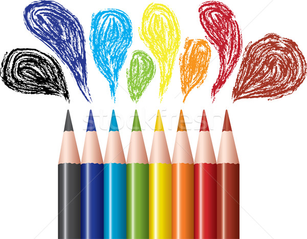Stock photo: colored pencils and bubbles