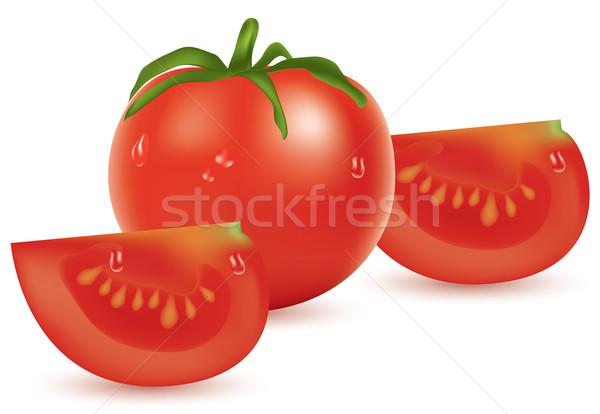 Vektör domates dilimleri gıda arka plan Metal Stok fotoğraf © Dahlia
