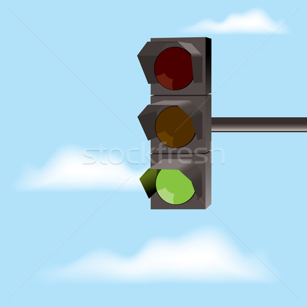 Stock photo: vector traffic lights with green color and blue sky