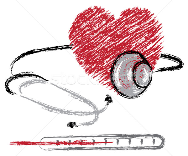 heart, stethoscope and thermometer  Stock photo © Dahlia