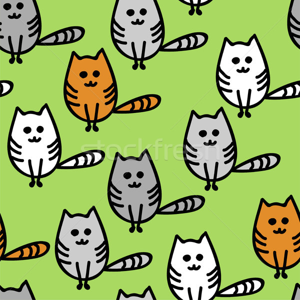 vector seamless pattern with cute funny kittens Stock photo © Dahlia