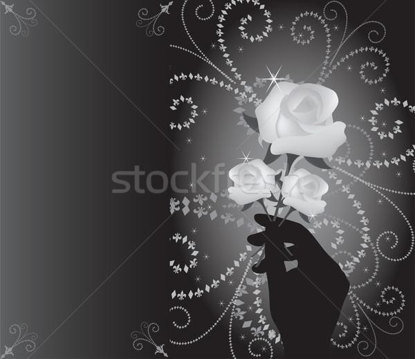 Vetor rosas mão natureza folha aniversário Foto stock © Dahlia