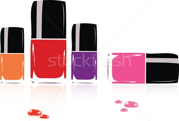 вектора коллекция лак для ногтей стекла оранжевый черный Сток-фото © Dahlia
