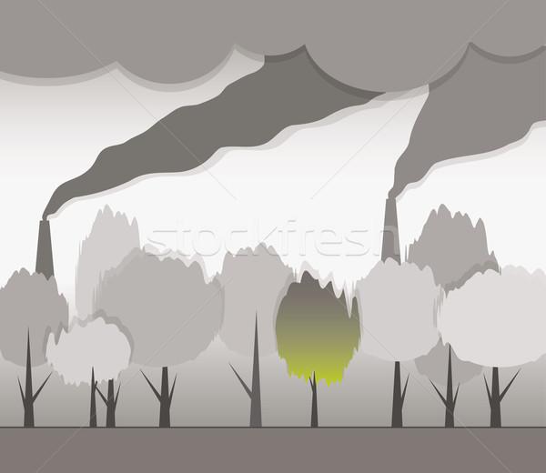 Stock fotó: Fertőzött · környezet · füst · égbolt · tájkép · technológia