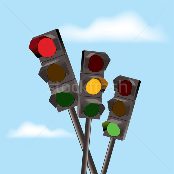 vector traffic lights with red, yellow and green color Stock photo © Dahlia