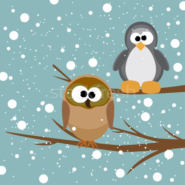Vetor coruja pinguim árvore queda de neve amor Foto stock © Dahlia
