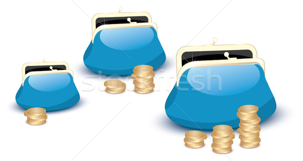 vector wallets and coins Stock photo © Dahlia