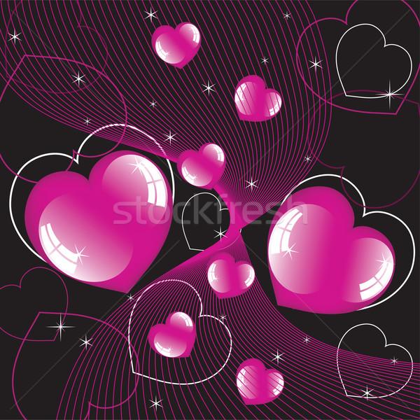 Parlak kalpler vektör soyut sevmek mutlu Stok fotoğraf © Dahlia