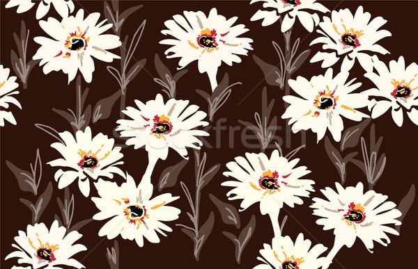 Vetor sem costura floral padrão margarida flores Foto stock © Dahlia