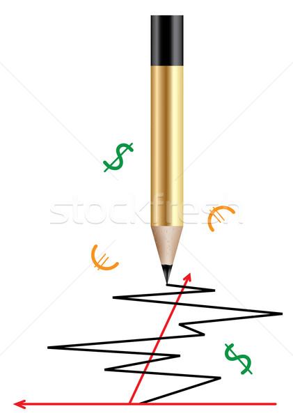 вектора карандашом графа оранжевый знак Дать Сток-фото © Dahlia