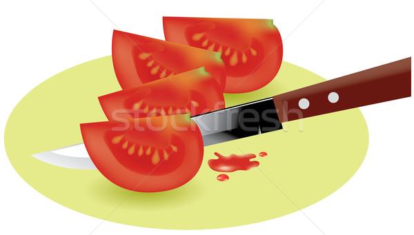 Vektor paradicsom szeletek konyha kés étel Stock fotó © Dahlia