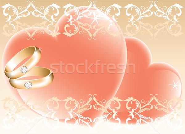 Stock fotó: Esküvő · arany · gyűrűk · szívek · vektor · boldog