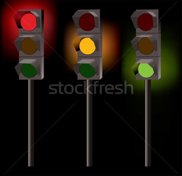 Stock fotó: Vektor · közlekedési · lámpa · fekete · fény · városi · lámpa
