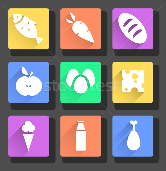 Stock photo: vector set of flat food icons