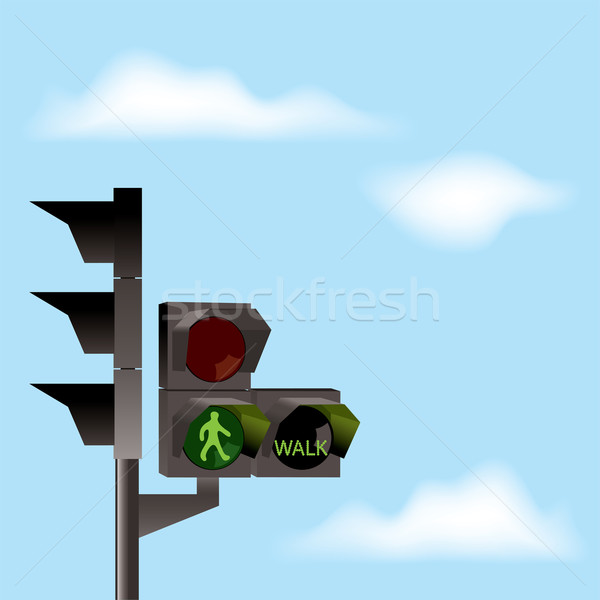 Stock photo: vector traffic lights and blue sky