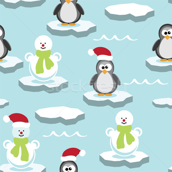 Vector seamless pattern with penguin and snowman on ice floe Stock photo © Dahlia