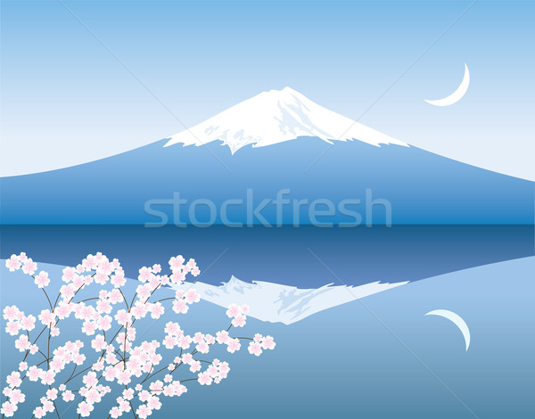 vector Mount Fuji, moon and branches of sakura Stock photo © Dahlia