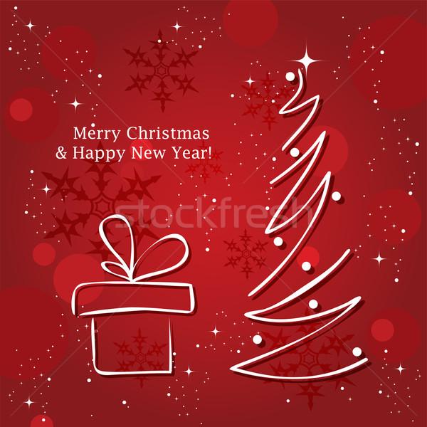 Vetor cartão árvore de natal árvore feliz projeto Foto stock © Dahlia