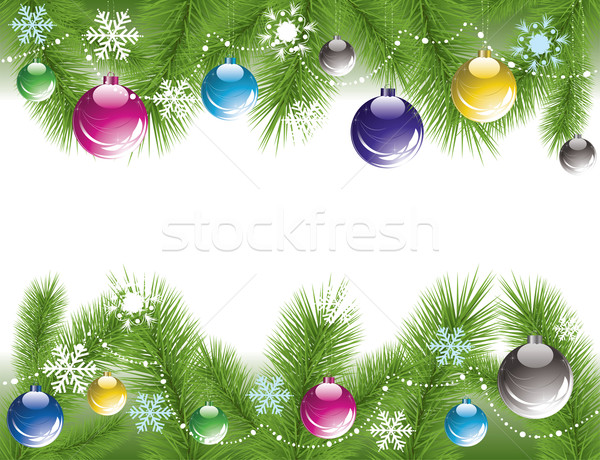Stock photo: xmas tree branches with decoration