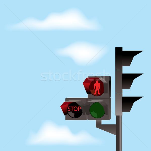 Vektör trafik ışıkları mavi gökyüzü kırmızı renk bulutlar Stok fotoğraf © Dahlia