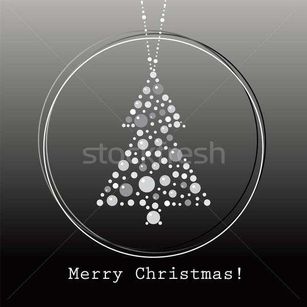 Vetor árvore de natal fundo preto branco férias Foto stock © Dahlia