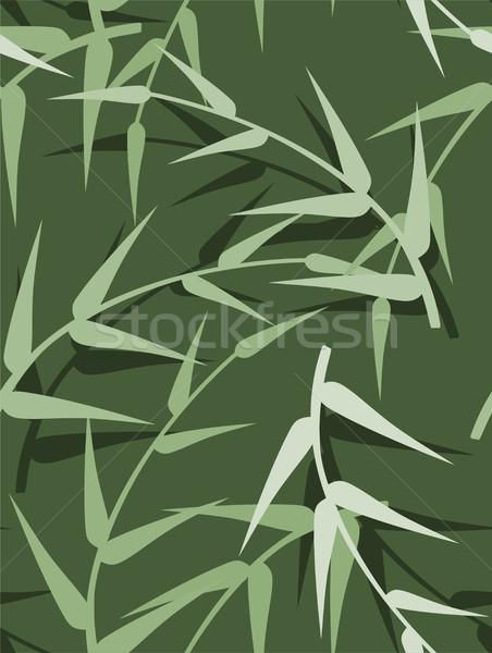 Vektor végtelenített zöld tavasz levelek textúra Stock fotó © Dahlia
