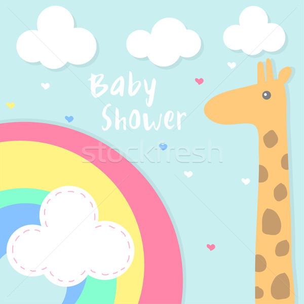 Vetor bebê chuveiro arco-íris girafa Foto stock © Dahlia