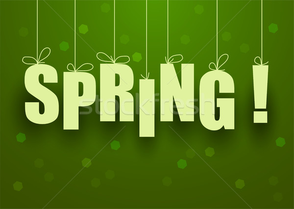 vector green spring background with spring lettering Stock photo © Dahlia