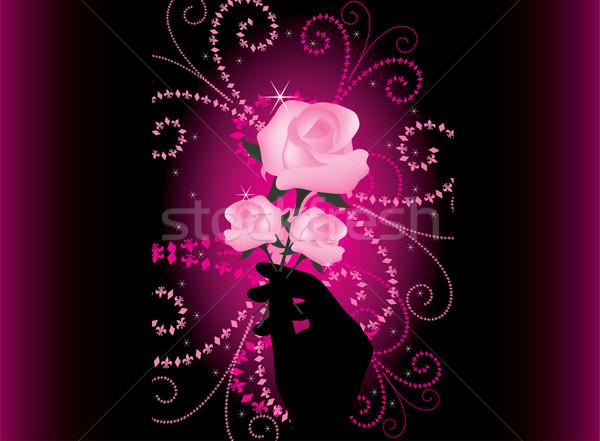 Vetor rosas mão flor natureza folha Foto stock © Dahlia