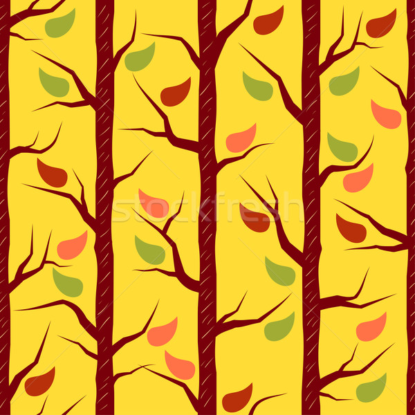 Stock photo: Fall trees with colorful leaves. Vector seamless pattern