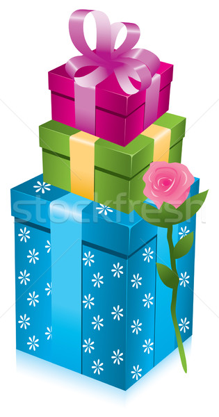 vector  gift boxes with rose Stock photo © Dahlia