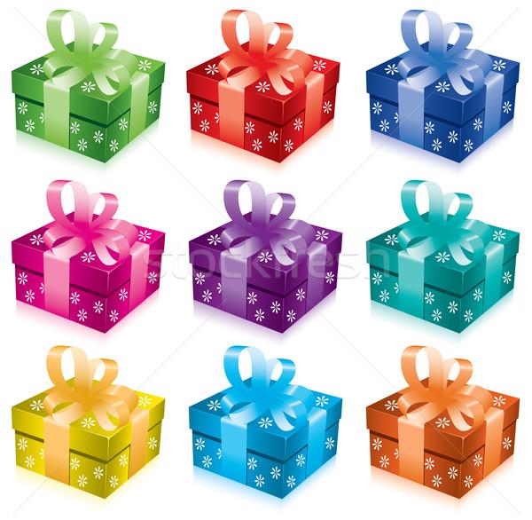 Vetor conjunto caixas de presente arco fita aniversário Foto stock © Dahlia
