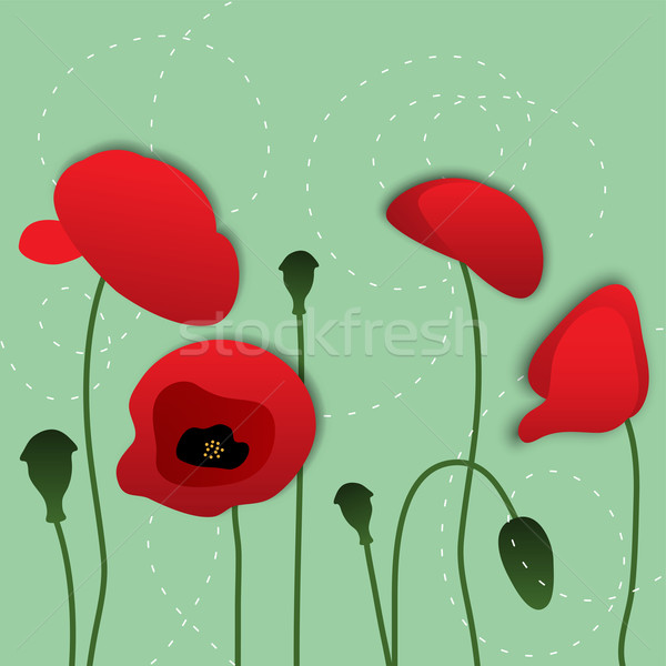 vector paper poppy flowers, floral background Stock photo © Dahlia