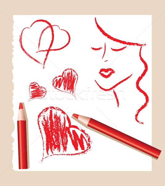 sketch of red hearts and beautiful woman Stock photo © Dahlia