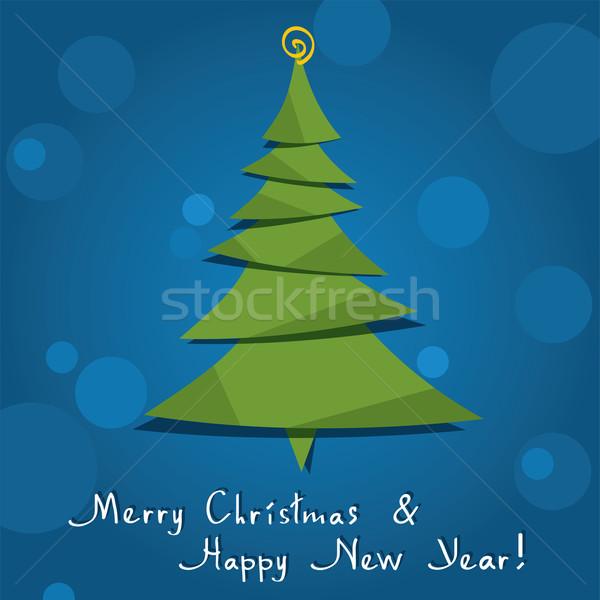 Vetor cartão árvore de natal árvore feliz arte Foto stock © Dahlia