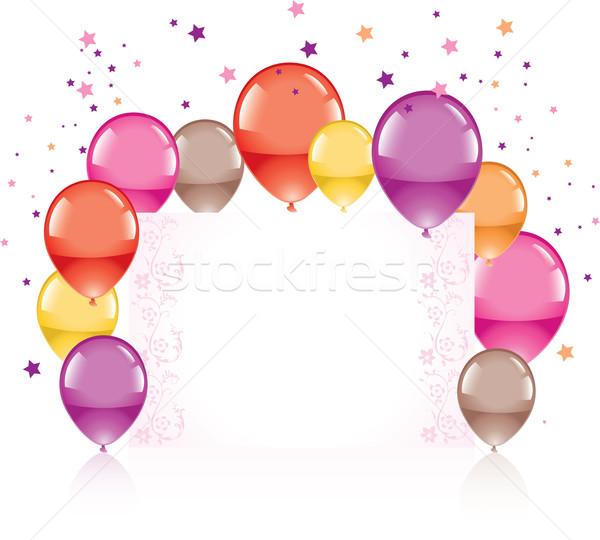 Vektör renkli balonlar tebrik kartı doğum günü Stok fotoğraf © Dahlia
