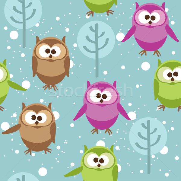 Сток-фото: вектора · Cute · Cartoon · Совы · дерево