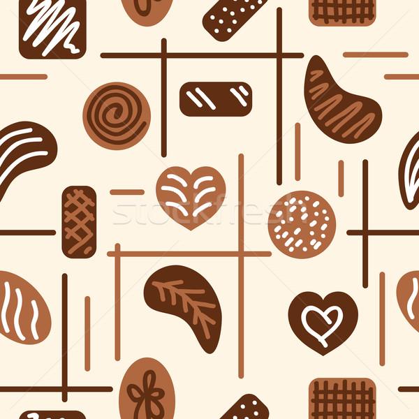 Stock fotó: Csokoládé · cukorkák · vektor · végtelen · minta · papír · absztrakt