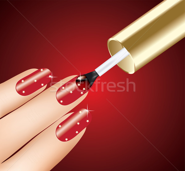 woman applying red nail polish on fingers Stock photo © Dahlia