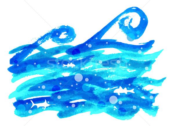 Suluboya deniz dalga su doku soyut Stok fotoğraf © Dahlia