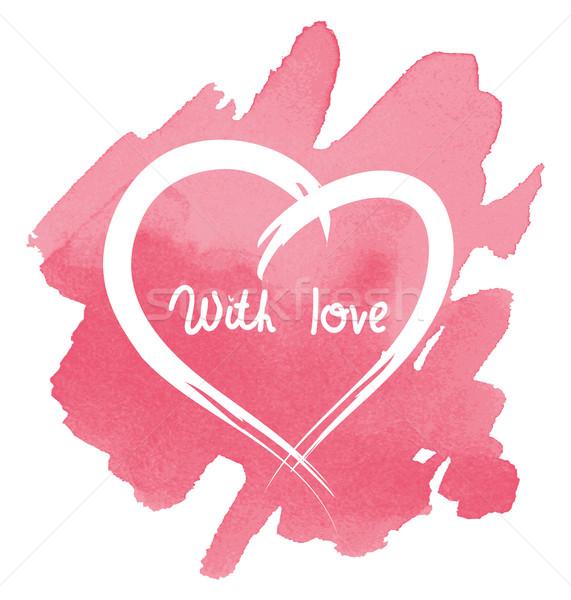 Coração abstrato aquarela vetor amor pintar Foto stock © Dahlia