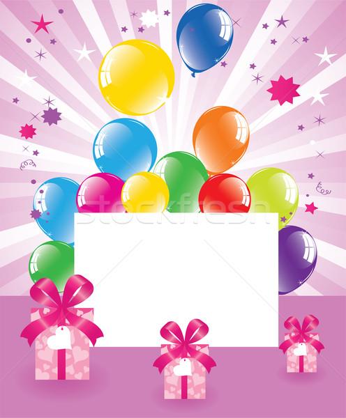 Balões caixas de presente vetor coração luz Foto stock © Dahlia